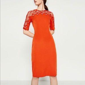 Lace Detail Red Zara Dress